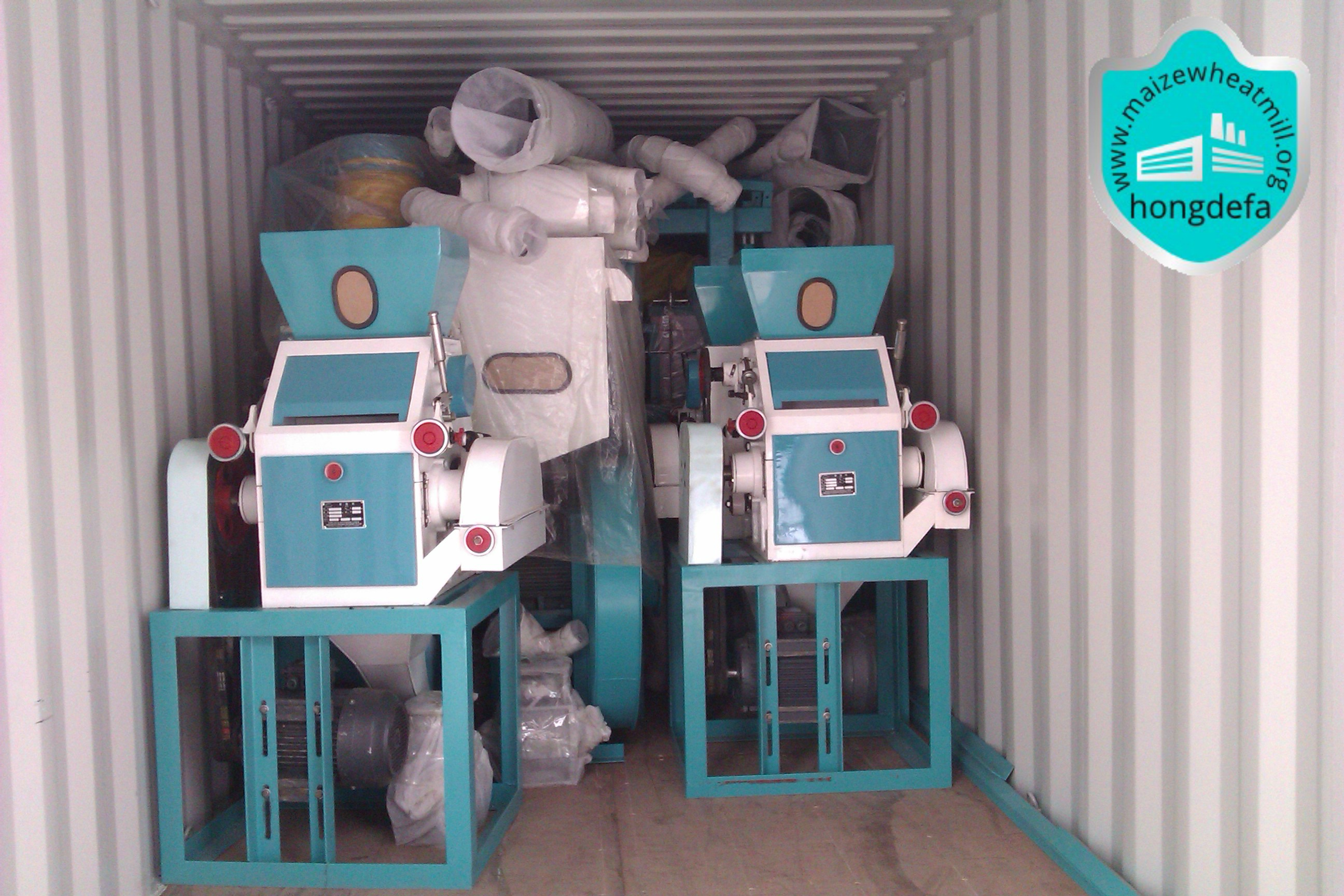 Milling machine is loaded into the container ready for shipping