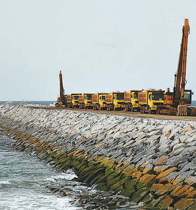 The Lekki Port Breakwater under construction